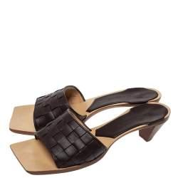 Bottega Veneta Brown Intrecciato Leather Open Toe Sandals Size 38