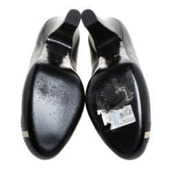 Bottega Veneta Black/Cream Leather Perforated Detail Platform Pumps Size 40