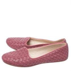 Bottega Veneta Dark Pink Intrecciato Leather Smoking Slippers Size 36