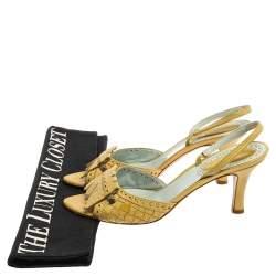 Bottega Veneta Yellow Intrecciato Leather Fringe Detail Open Toe Slingback Sandals Size 41