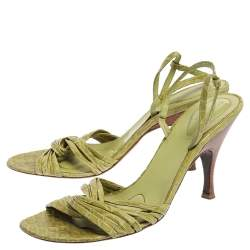 Bottega Veneta Lime Green Croc Embossed Leather Strappy Open Toe Slingback Sandals Size 40.5