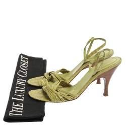 Bottega Veneta Lime Green Croc Embossed Leather Strappy Open Toe Slingback Sandals Size 40.5