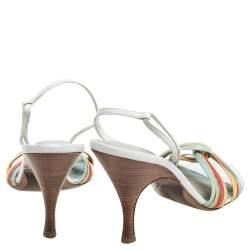 Bottega Veneta Multicolor Leather Criss Cross Slingback Sandals Size 41