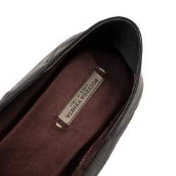 Bottega Veneta Metallic Black Intrecciato Leather Studded Loafers Size 39