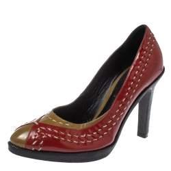 Bottega Veneta Red/Brown Patent Leather Pumps Size 35.5