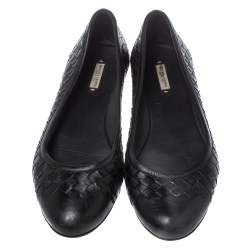 Bottega Veneta Black Intrecciato Leather Ballet Flats Size 39