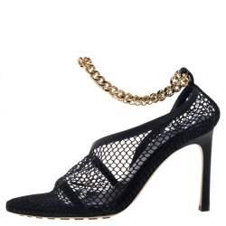 Bottega Veneta Black Mesh And Leather Trims Chain Embellished Ankle Cuff Pumps Size 38.5