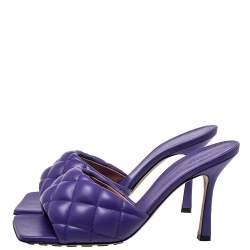 Bottega Veneta Purple Leather Padded Mule Sandals Size 38.5