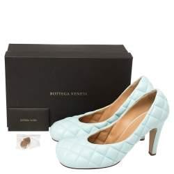 Bottega Veneta Blue Leather Padded Bloc Pumps Size 40