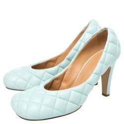 حذاء كعب عالي بوتيغا فينيتا جلد أزرق محشو مقاس 40