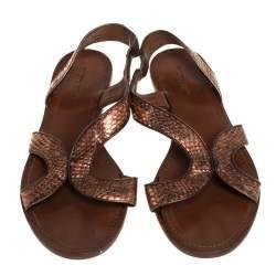 حذاء فلات بوتيغا فينيتا جلد ثعبان رصاصي مقاس 40