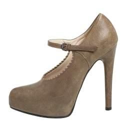 Bottega Veneta Brown Leather Mary Jane Platform Pumps Size 36