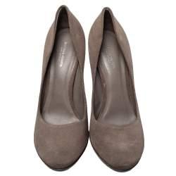 حذاء كعب عالي بوتيغا فينيتا مقدمة مستديرة سويدي بني مقاس 40