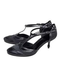 Bottega Veneta Black Fabric And Leather T Strap Pumps Size 38.5
