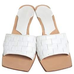 Bottega Veneta White Intrecciato Leather Square Toe Mules Sandals Size 39