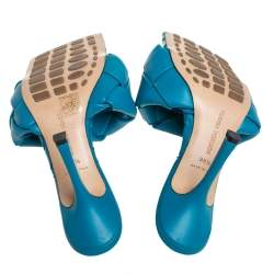 Bottega Veneta Blue Intrecciato Leather Lido Slide Sandals Size 39.5