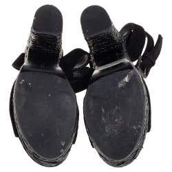 Bottega Veneta Black Suede Ankle Wrap Open Toe Sandals Size 36.5