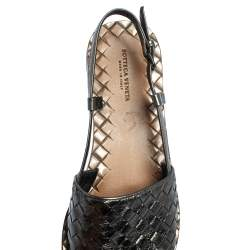 Bottega Veneta Metallic Grey Leather Slingback  Flat Sandals Size 37