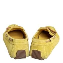 Bottega Veneta Yellow Intrecciato Suede Bow Slip On Loafers Sizs 36.5