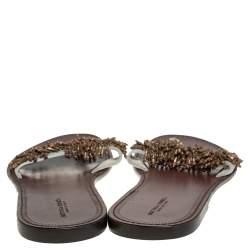 Bottega Veneta Cream Nubuck Leather Embellished Thong Flats Size 39.5