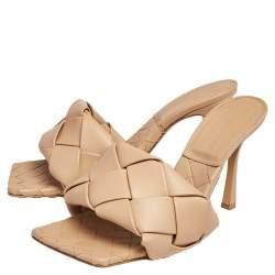 Bottega Veneta Beige Intrecciato Leather Lido Slide Sandals Size 39