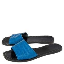 Bottega Veneta Blue Intrecciato Leather Flat Slides Size 38