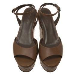 Bottega Veneta Brown Leather Intrecciato Platform Sandals Size 37.5