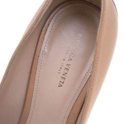 Bottega Veneta Two Tone Leather Frill Detail Platform Block Heel Pumps Size 38.5