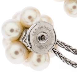 Boucheron Cultured Pearl Cluster 18k White Gold Tassel Stud Earrings