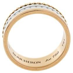 Boucheron Quatre White Edition Ceramic 18K Three Tone Gold Small Ring Size 51