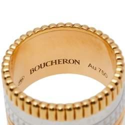 Boucheron Quatre White Edition Ceramic 18K Three Tone Gold Large Band Ring Size 53