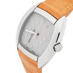 Boucheron Grey Stainless Steel Diamond Leather MEC Tonneau Women's Wristwatch 38 mm