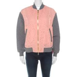 Boutique Moschino Peach Floral Lace Paneled Zip Front Jacket S
