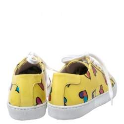 Boutique Moschino Yellow Patent Leather Heart Low Top Lace Up Sneakers Size 38