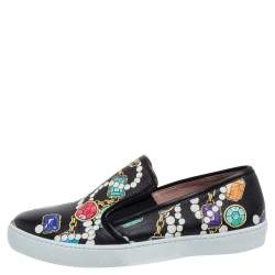Boutique Moschino Black Crystal Printed Leather Slip-on Sneakers Size 37