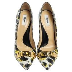 Boutique Moschino Tri Color Printed Leather Pointed Toe Pumps Size 40