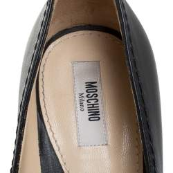 Moschino Black Leather Logo Letter Pointed Toe Pumps Size 41