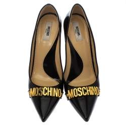 Moschino Black Leather Pointed Toe Pumps Size 40