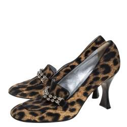 Moschino Cheap And Chic Multicolor Leopard Print Embellished Loafer Pumps Size 40