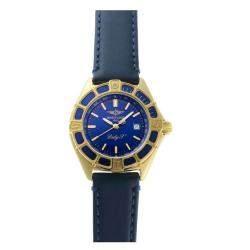 Breitling Blue 18K Yellow Gold Lady J Quartz K52065 Women's Wristwatch 30.5 MM
