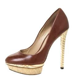 Brian Atwood Brown/Gold Leather and Python Effect Platform Pumps Size 38.5