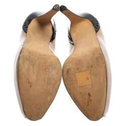 حذاء كعب عالي براين إيستوود جلد بيج/أسود لامع نعل سميك مقاس 36