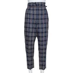 Brunello Cucinelli Navy Blue Plaid Linen Paper Bag Waist Trousers M