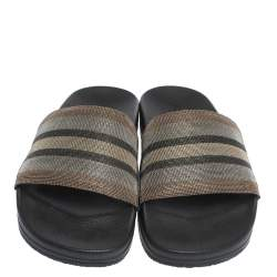 Brunello Cucinelli Metallic Multicolor Stripe Beaded Flat Slides Size 40