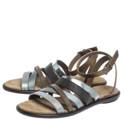Brunello Cucinelli Multicolor Leather And Beads Strappy Flat Sandals Size 38