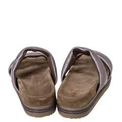 Brunello Cucinelli Metallic Pink Leather Beaded Platform Slip On Sandals Size 38