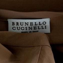 توب برونيللو كوتشييلي حرير وردي فاتح بأكمام قصيرة S