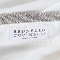 قميص برونيللو كوتشينيلي أبيض أوف وايت مونيلي بياقة مزينة بلا أكمام XL