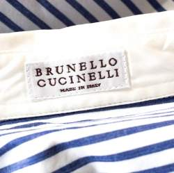Brunello Cucinelli Bicolor Striped Cotton Beaded Collar Shirt S