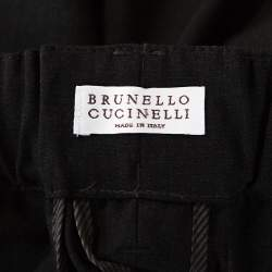 Brunello Cucinelli Dark Grey Wool High Waisted Tapered Trousers M